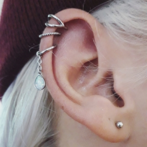 triple helix piercing lobe
