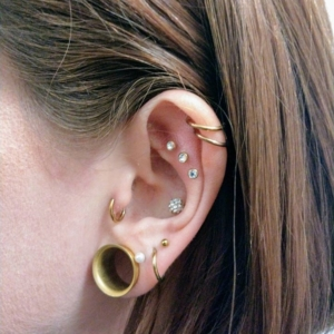 double helix triple flat conch tragus lobe piercings tunnel
