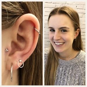 tragus helix lobe piercing