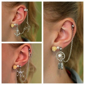 helix lobe piercing chain