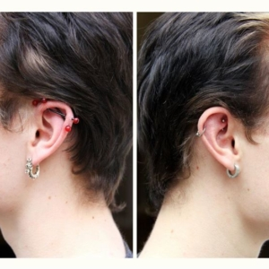 double industrial helix piercing