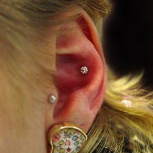 tragus conch lobe piercing